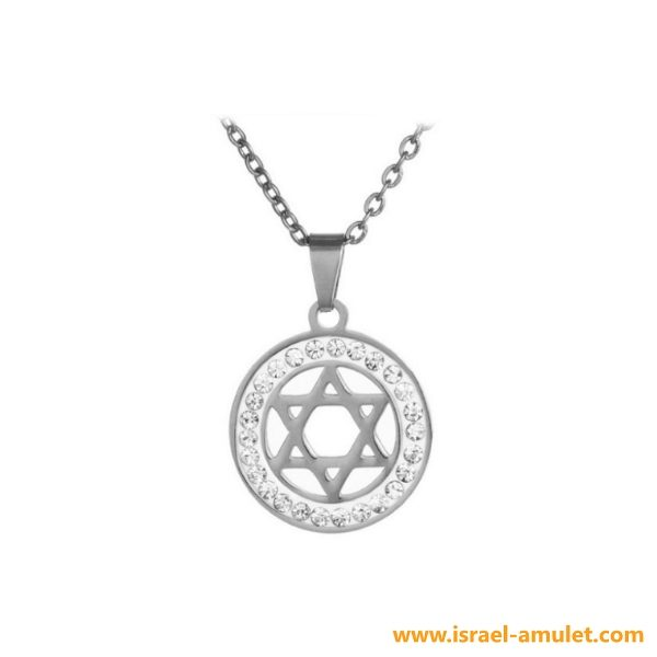 Медальон со стразами Звезда Давида