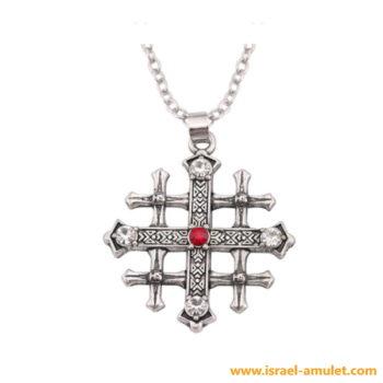 Кулон иерусалимский крест со стразами