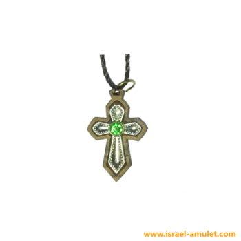 Крестик с зелёным камнем из Иерусалима